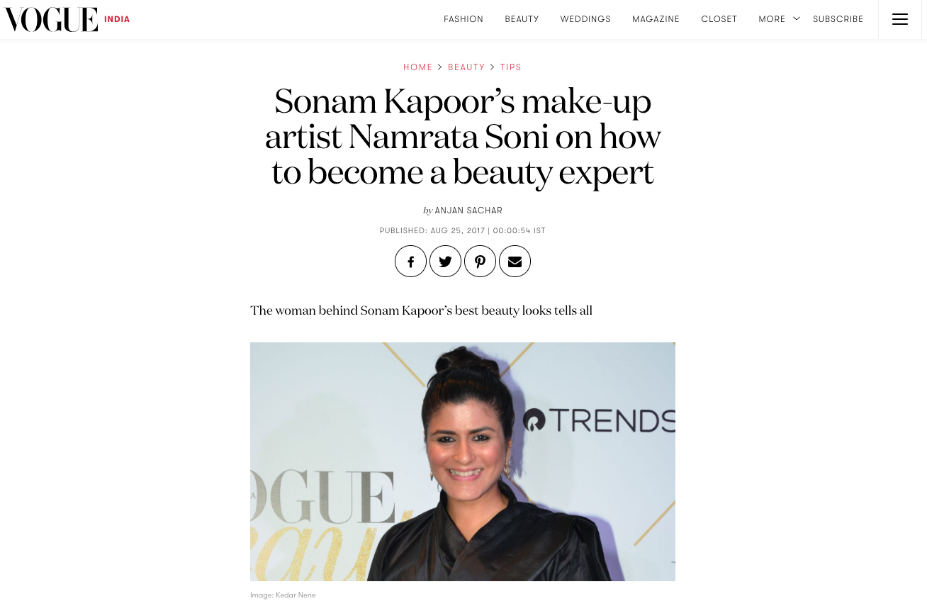 Vogue feature Sonam Kapoor's make-up artist Namrata Soni on how to become a beauty expert
