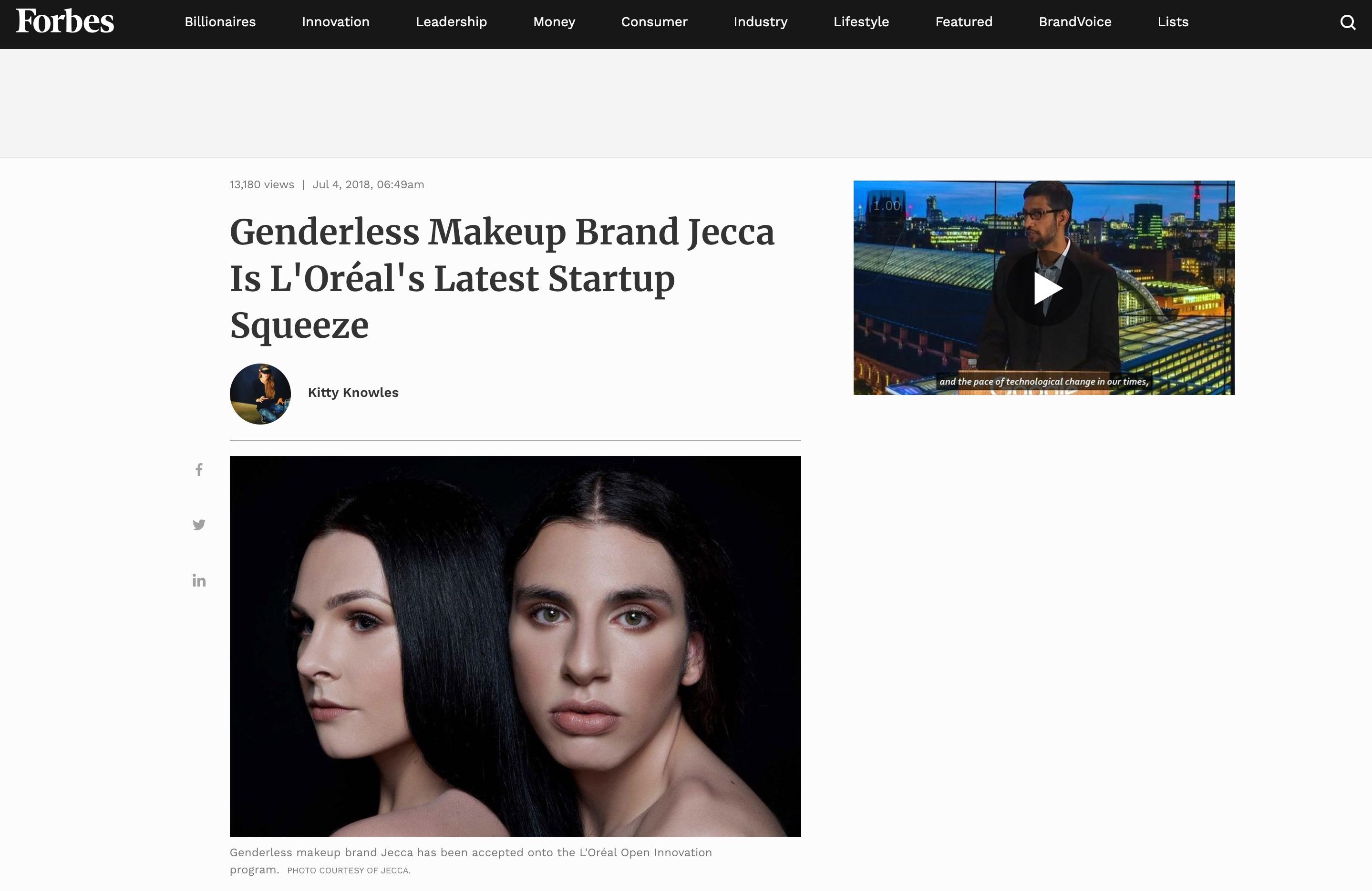 Forbes feature Delamar Academy graduate Jessica Blackler launches gender neutral L'Oreal brand, Jecca