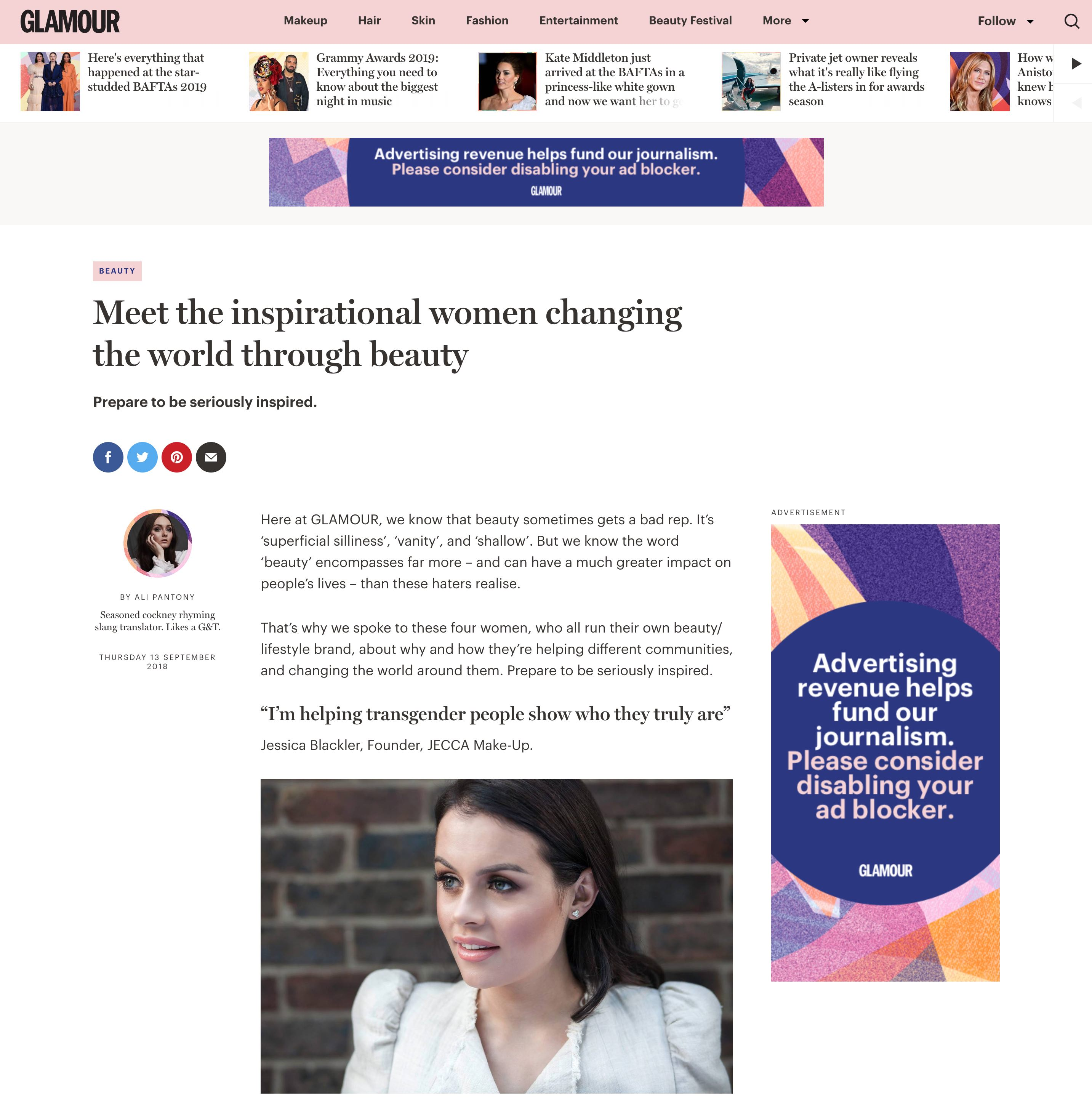 Glamour feature Delamar graduate Jessica Blackler: Meet the inspirational women changing the world through beauty