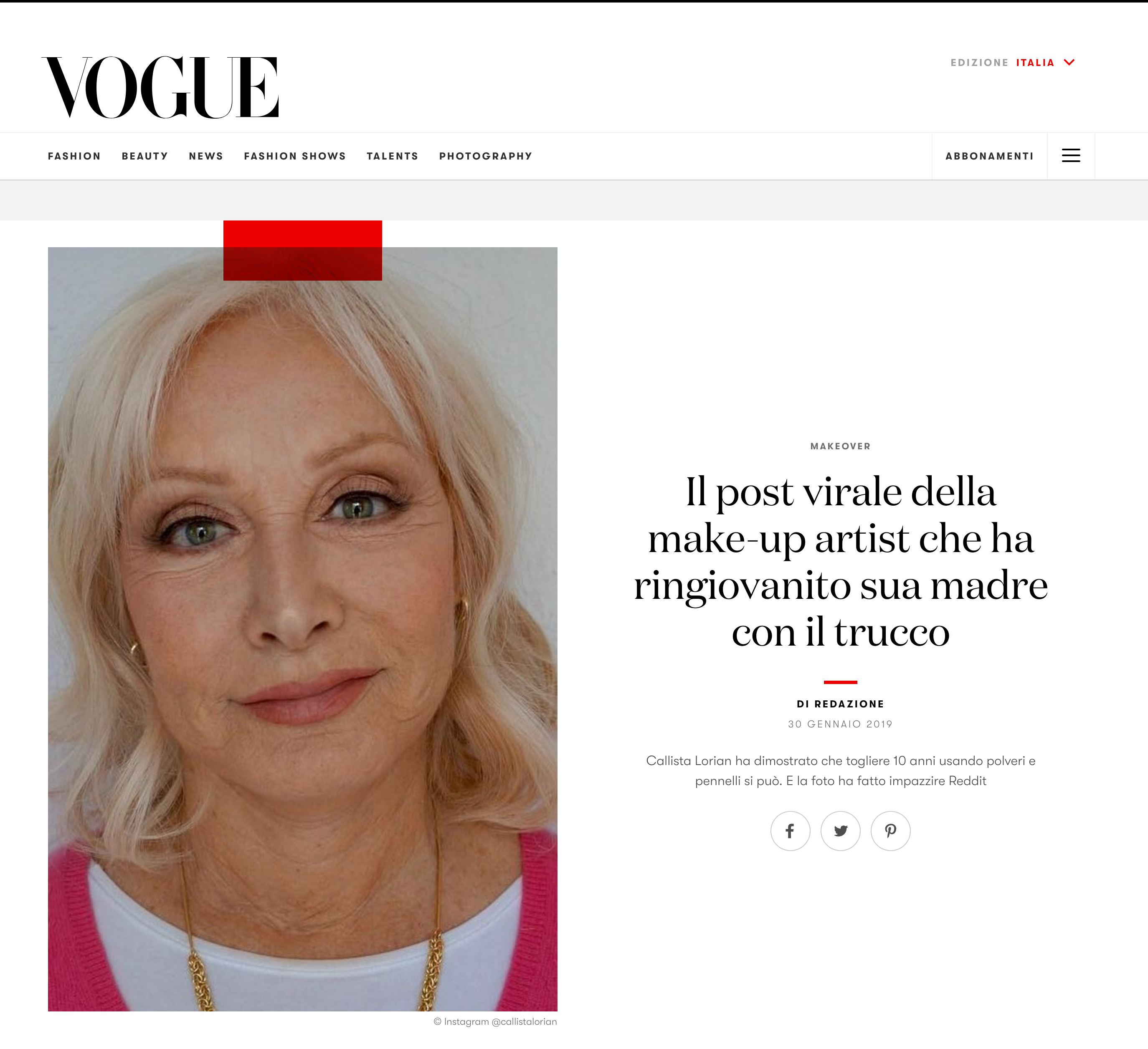 Vogue Italia feature article on our recent graduate, Callista Lorian